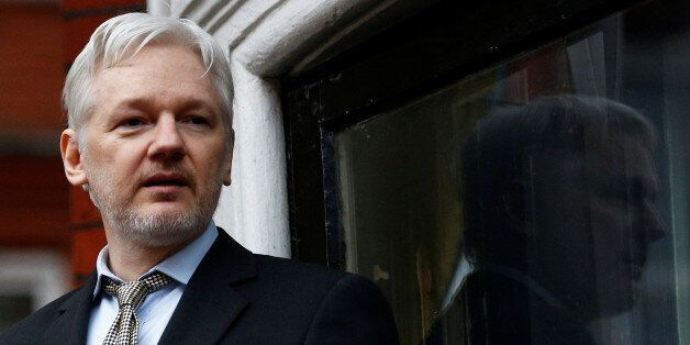 WikiLeaks founder Julian Assange makes a speech from the balcony of the Ecuadorian Embassy, in central...