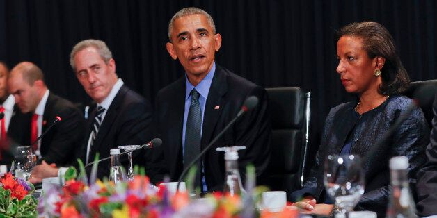 U.S. President Barack Obama speaks during a meeting with China's President Xi Jingping during the Asia-Pacific...