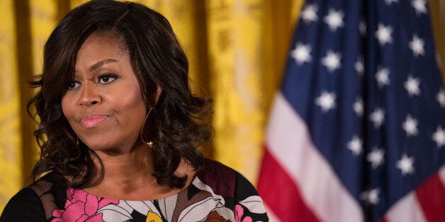 U.S. first lady Michelle Obama delivers opening remarks during the final Joining Forces event in the...