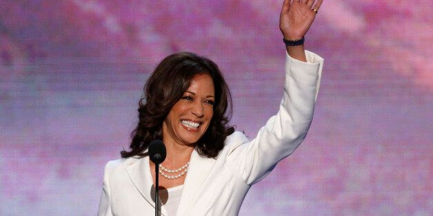 California Attorney General Kamala Harris arrives to address delegates during the second session of the...