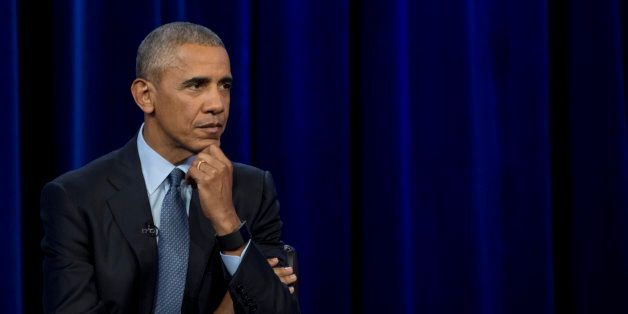 US President Barack Obama takes a question as he participates in a student forum hosted by ESPN at North...