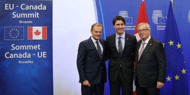 BRUSSELS, BELGIUM - OCTOBER 30: European Council President Donald Tusk (L), Canadian Prime Minister Justin...