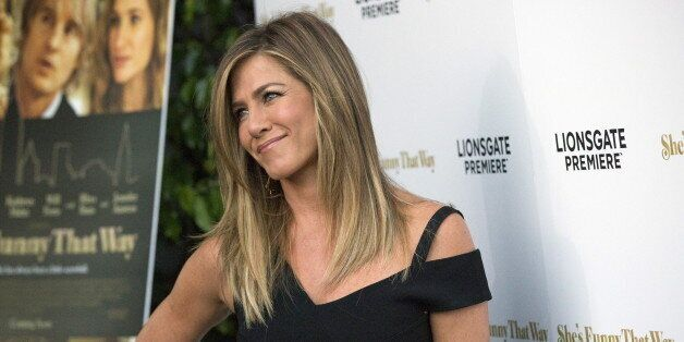 Cast member Jennifer Aniston poses at the premiere