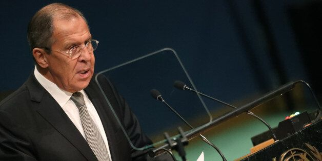Russian Foreign Minister Sergey Lavrov addresses the 71st United Nations General Assembly in the Manhattan...