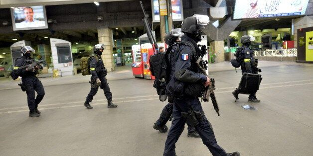Members of the National Gendarmerie Intervention Group (GIGN) are pictured following a training exercise...