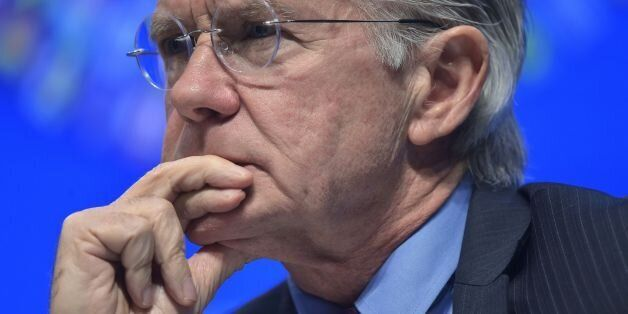 International Monetary Fund Communications Director Gerry Rice is seen during a press conference by IMF...