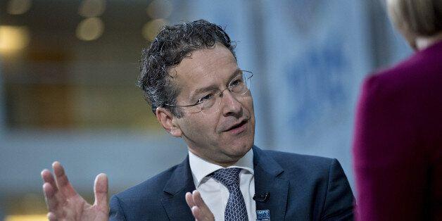 Jeroen Dijsselbloem, Dutch finance minister and head of the group of euro-area finance ministers, speaks...