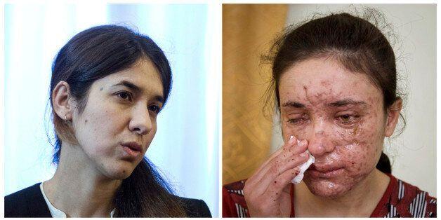 COMBO - this combination of two file photos shows Iraqi Yazidis Nadia Murad Basee, left, and Lamiya Aji...