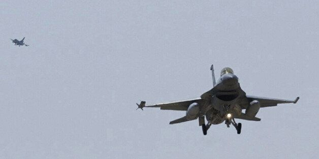 Two Greek air forces F-16 fighter lands at a Turkish air base in the Central Anatolian Turkish city of...