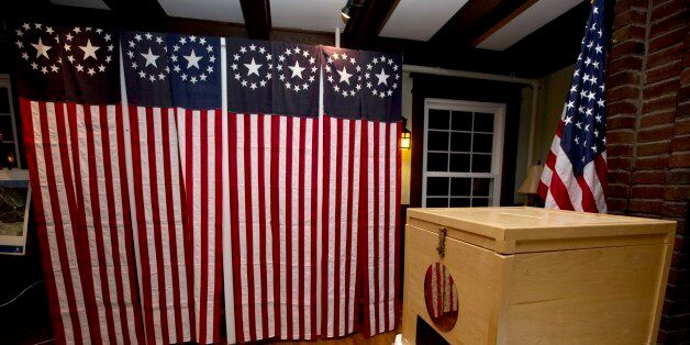 A ballot box is set Monday Nov. 7, 2016, for residents in Dixville Notch, N.H., to vote at midnight....