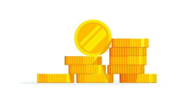 Coins stack vector illustration, coins icon flat, coins pile, coins money, one golden coin standing on...