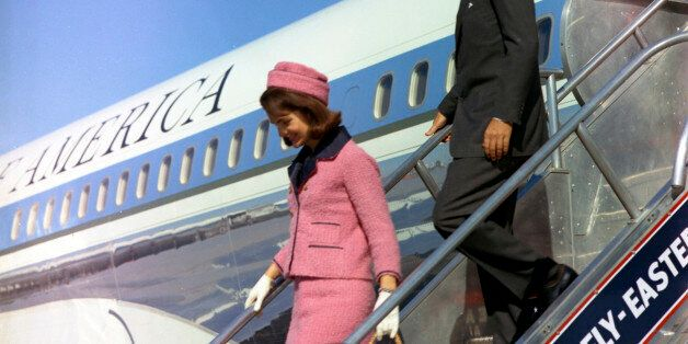 Former U.S. President John F. Kennedy and first lady Jacqueline Kennedy descend the stairs from Air Force One after arriving at Love Field in Dallas,Texas, in this handout image taken on November 22, 1963. Friday, November 22, 2013, will mark the 50th anniversary of the assassination of President Kennedy. REUTERS/Cecil Stoughton/The White House/John F. Kennedy Presidential Library  (UNITED STATES: Tags: POLITICS ANNIVERSARY)  ATTENTION EDITORS - THIS IMAGE WAS PROVIDED BY A THIRD PARTY. FOR EDITORIAL USE ONLY. NOT FOR SALE FOR MARKETING OR ADVERTISING CAMPAIGNS. THIS PICTURE IS DISTRIBUTED EXACTLY AS RECEIVED BY REUTERS, AS A SERVICE TO CLIENTS