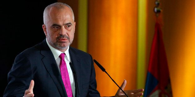 Albanian Prime Minister Edi Rama speaks during the Business Forum Serbia - Albania, in the town of Nis,...