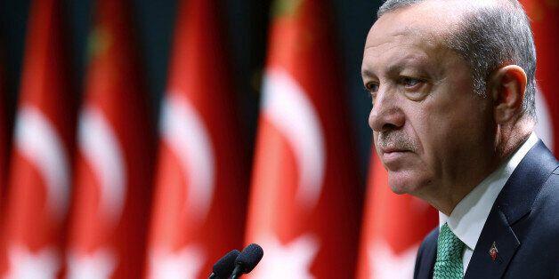 Turkey's President Recep Tayyip Erdogan addresses a meeting in Ankara, Turkey, Thursday, Oct. 20, 2016....