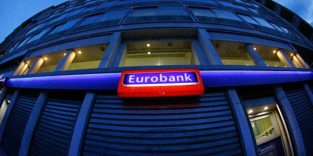 View of a Eurobank branch in central Athens March 11, 2015. Greece's Eurobank reported a jump in fourth-quarter...