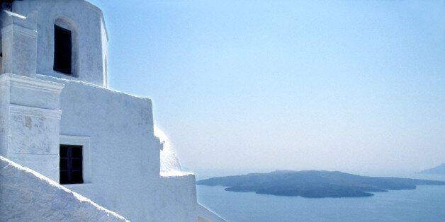 House and ocean, Fira, Greek Island, Santorini,