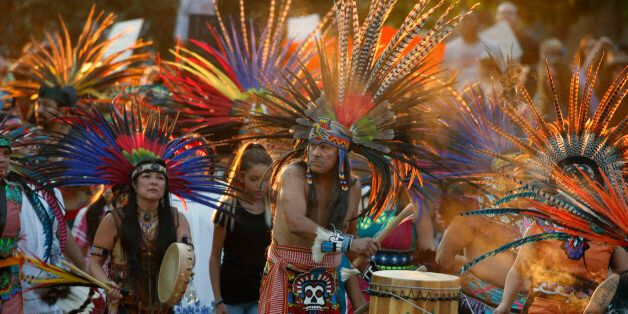 Native Americans head to a rally at the State Capitol in Denver, Colo., Thursday, Sept. 8, 2016, to protest...
