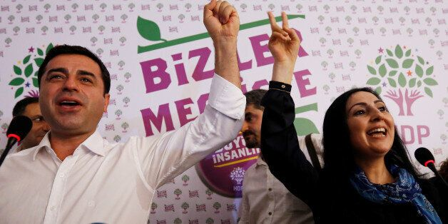 File Photo: Co-chairs of the pro-Kurdish Peoples' Democratic Party (HDP), Selahattin Demirtas and Figen...