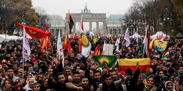 Thousands of Kurdish protesters demanding the end of the ban of the Kurdistan Workers' Party, commonly...