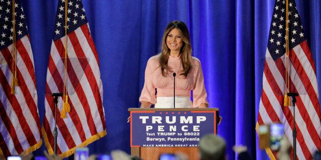 Melania Trump, wife of Republican presidential candidate Donald Trump, speaks at the Main Line Sports...