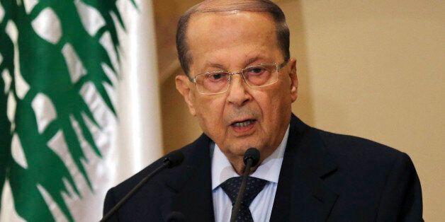 Christian leader Michel Aoun speaks to journalists after former Lebanese Prime Minister Saad Hariri endorsed...