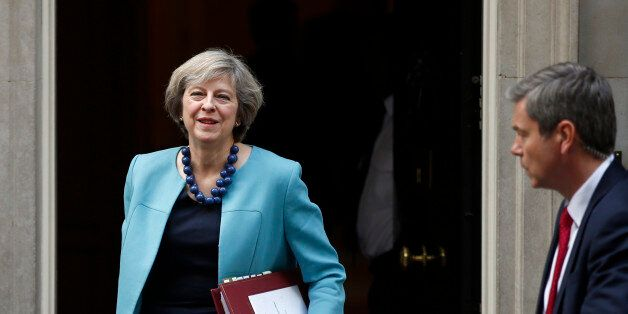 Britain's Prime Minister, Theresa May, leaves 10 Downing Street to attend Prime Minister's Questions...