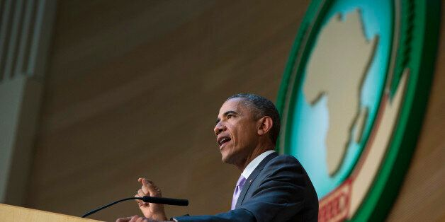 U.S. President Barack Obama delivers a speech to the African Union, Tuesday, July 28, 2015, in Addis...