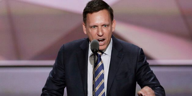 Entrepreneur Peter Thiel speaks during the final day of the Republican National Convention in Cleveland,...