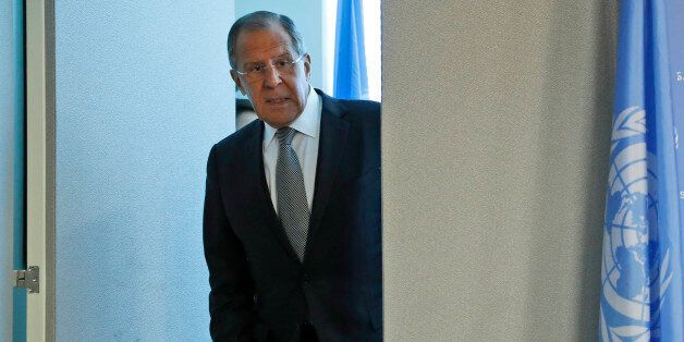 Russian Foreign Minister Sergey Lavrov arrives for a new conference, Friday, Sept. 23, 2016 at United...