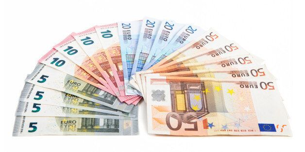 different euro bank notes fanned side by side, white