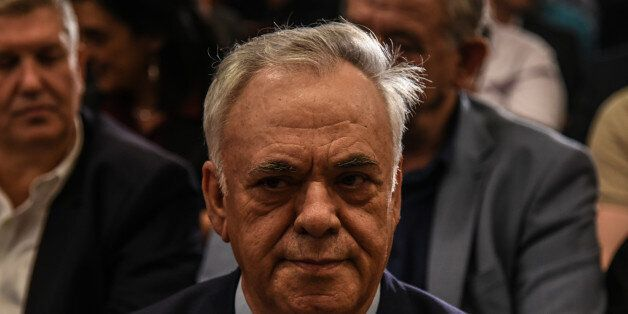 Alternate Prime Minister Giannis Dragasakis attend a meeting of the European Parliament Vice President,...