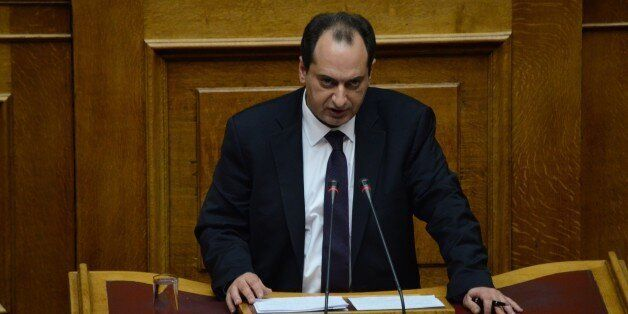 ATHENS, GREECE - 2015/12/15: Minister of Infrastructure, Transport and Networks Christos Spirtzis talks...