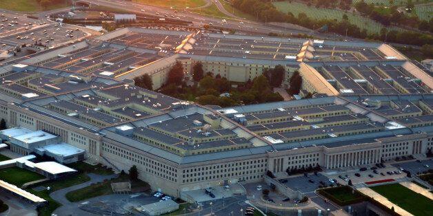 US pentagon building aerial view at