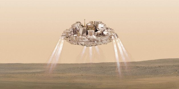 FILE - This artist impression provided by the European Space Agency shows the Schiaparelli module firing...
