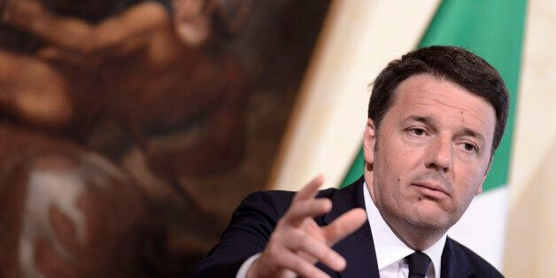 ROME, ITALY - APRIL 07: Italian Prime Minister Matteo Renzi attends a press conference addressing the...