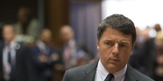 Matteo Renzi, Italy's prime minister, arrives ahead of round table talks with European Union (EU) leaders...