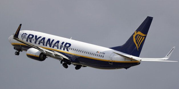 LONDON, ENGLAND - OCTOBER 20: A Ryanair plane departs from Stansted Airport on October 20, 2016 in London, England. Ryanair has reduced its profit forecast following the drop in the pound after the Brexit vote. (Photo by Dan Kitwood/Getty Images)