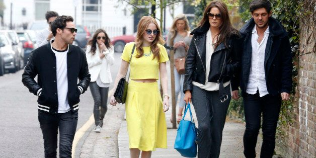 LONDON, UNITED KINGDOM - APRIL 02: Andy Jordan, Rosie Fortescue, Alexandra Felstead and Alex Mytton seen...