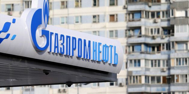 A logo of Gazprom Neft oil company is seen at a petrol station in Moscow, Russia, March 11, 2016. REUTERS/Maxim...