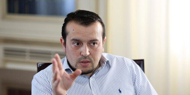 Nikos Pappas, Greece's minister of state, speaks during a Bloomberg Television interview in Athens, Greece,...