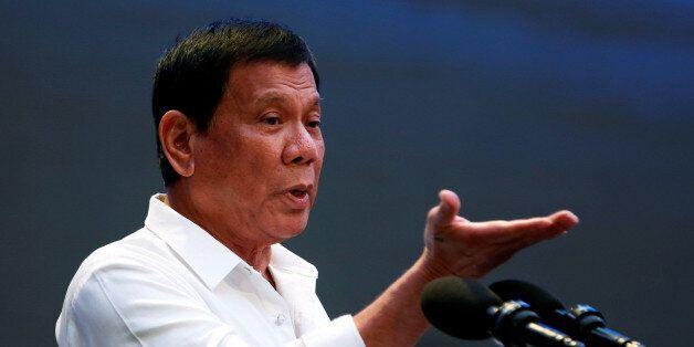 President Rodrigo Duterte speaks during a gathering of businessmen in Pasay city, Metro Manila, Philippines,...