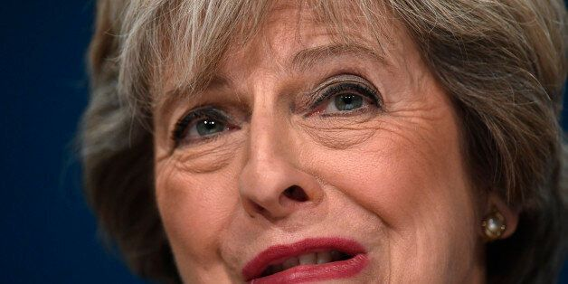 Britain's Prime Minister Theresa May speaks at the annual Conservative Party Conference in Birmingham,...