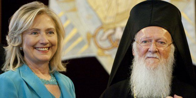Ecumenical Patriarch Bartholomew and US Secretary of State Hillary Clinton attend meetings at the Patriarchy...