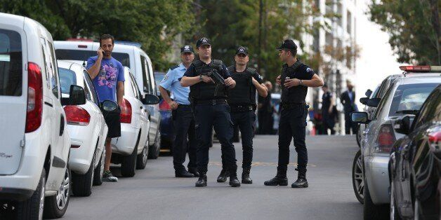 ANKARA, TURKEY - SEPTEMBER 21: Police take security measurements near Israeli embassy building after...