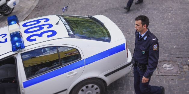 Elevated view of Greek policeman and