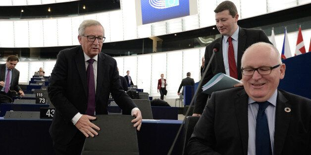 European Commission's President Jean-Claude Juncker (L) and First Vice-President of the European Commission...