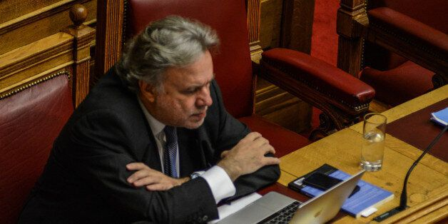 Minister of Labor Giorgos Katrougkalos during the debate at the Greek Parliament on the Omnibus Bill...