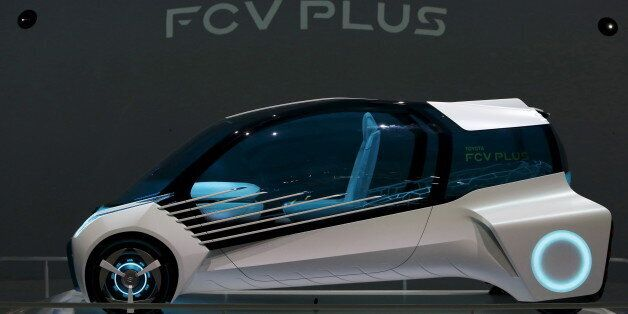 Toyota Motor Corp's hydrogen fuel-cell concept car Toyota FCV PLUS is displayed at the 44th Tokyo Motor...