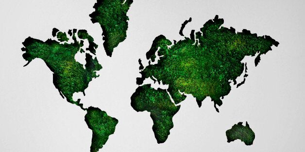 Map of world made of lush