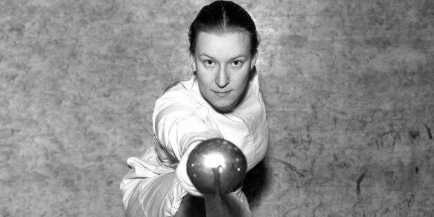 Helene Mayer, world champion in women's fencing, is shown in Feb. 1935. Mayer, a student at Mills College...